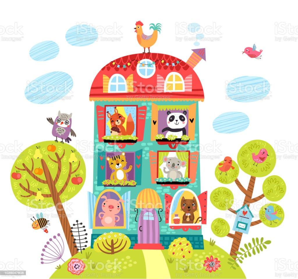 家の中で動物とかわいいイラスト まぶしいのベクターアート素材や画像