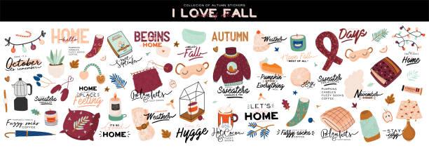 ilustrações de stock, clip art, desenhos animados e ícones de cute illustration with autumn and winter cozy elements. isolated on white background. - hygge