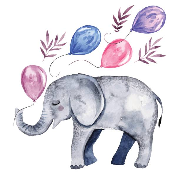 cute illustration with baby elephant and balloons - elephant stock illustrations