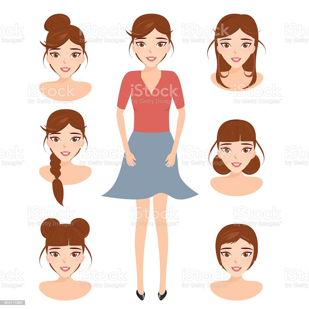 cute illustrations of beautiful young girls with various hair style. vector art illustration