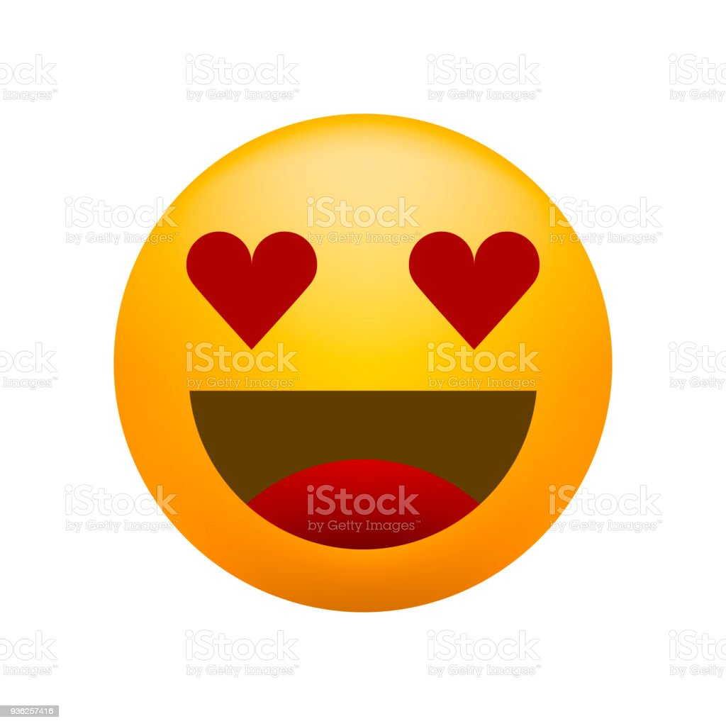 Cute In Love Emoticon on White Background . Isolated Vector Illustration vector art illustration