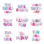 Cute inscription icons for girls. Cartoon glossy letters in pastel colors. Vector