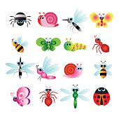 colorful insects vector cartoon set collection, cute animals set