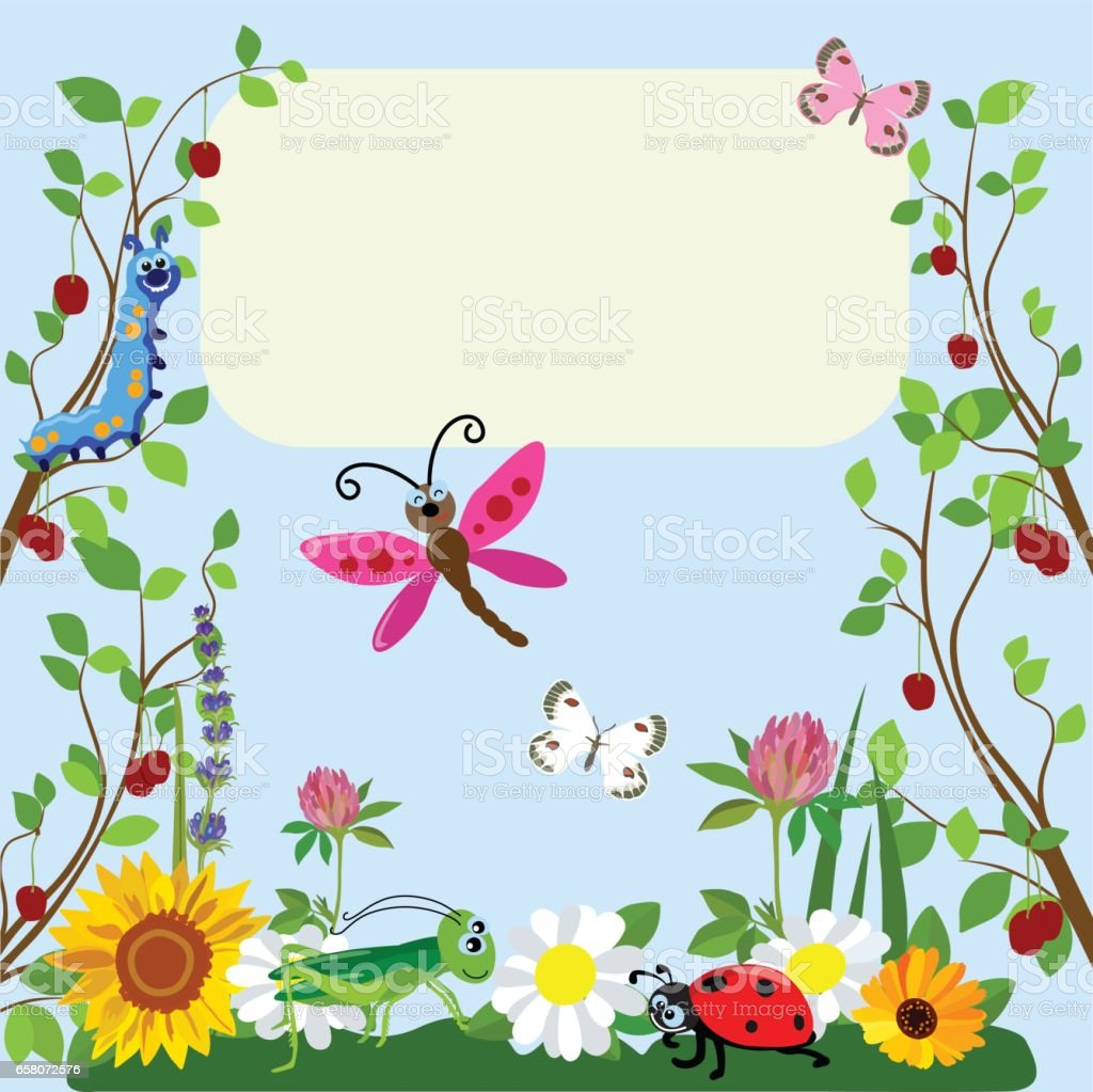 Cute Insects Animal Cartoon In Grass And Flowers Vector Illustration Royalty Free