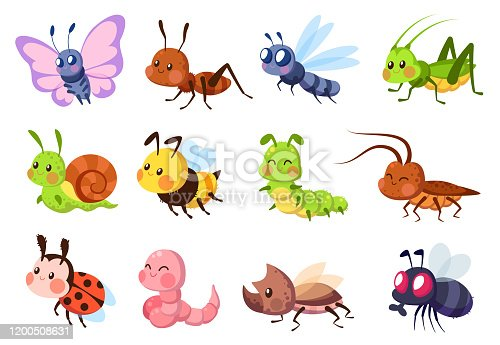 Cute insects. Bugs creatures bee and ladybug, worm, snail and butterfly, caterpillar. Mantis, dragonfly and fly funny cartoon vector wildlife set