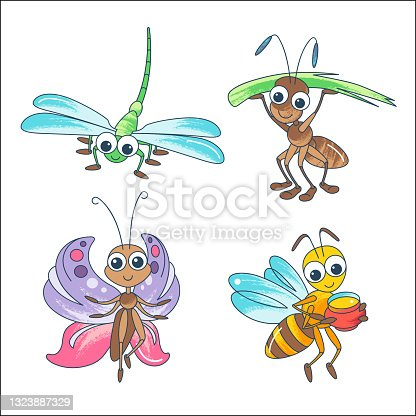 istock Cute insects cartoon characters. Bright butterfly, dragonfly, ant, bee isolated on white background. 1323887329