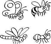 Cute insects crawling. Vector illustration.