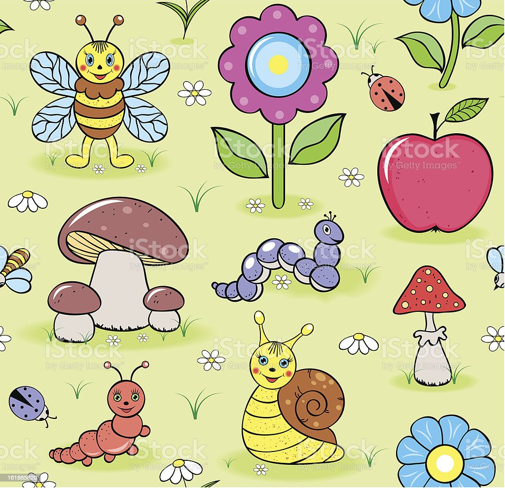 cute insects on summer meadow royalty-free stock vector art