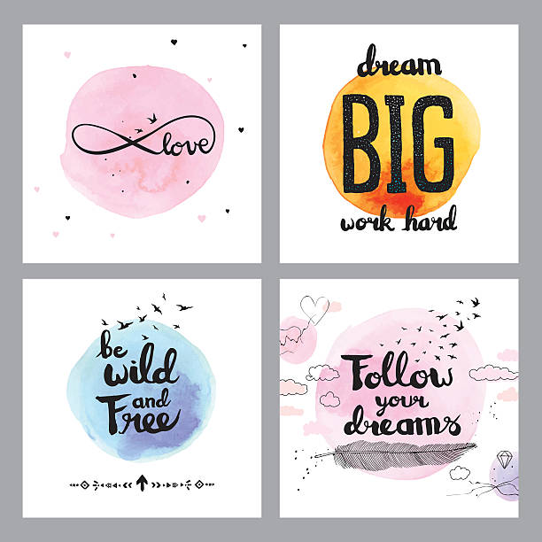 Cute inspirational quotes Editable vector set of illustrated quotes on layers. short phrase stock illustrations
