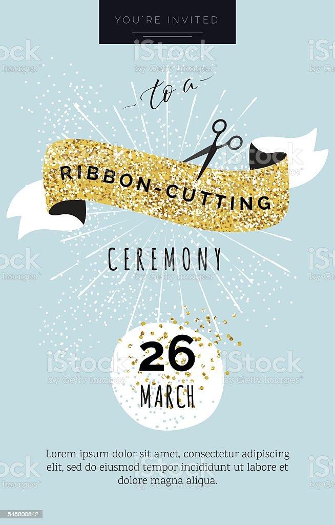 Cute invitation card You are invited to a ribbon-cutting ceremon - Illustration vectorielle