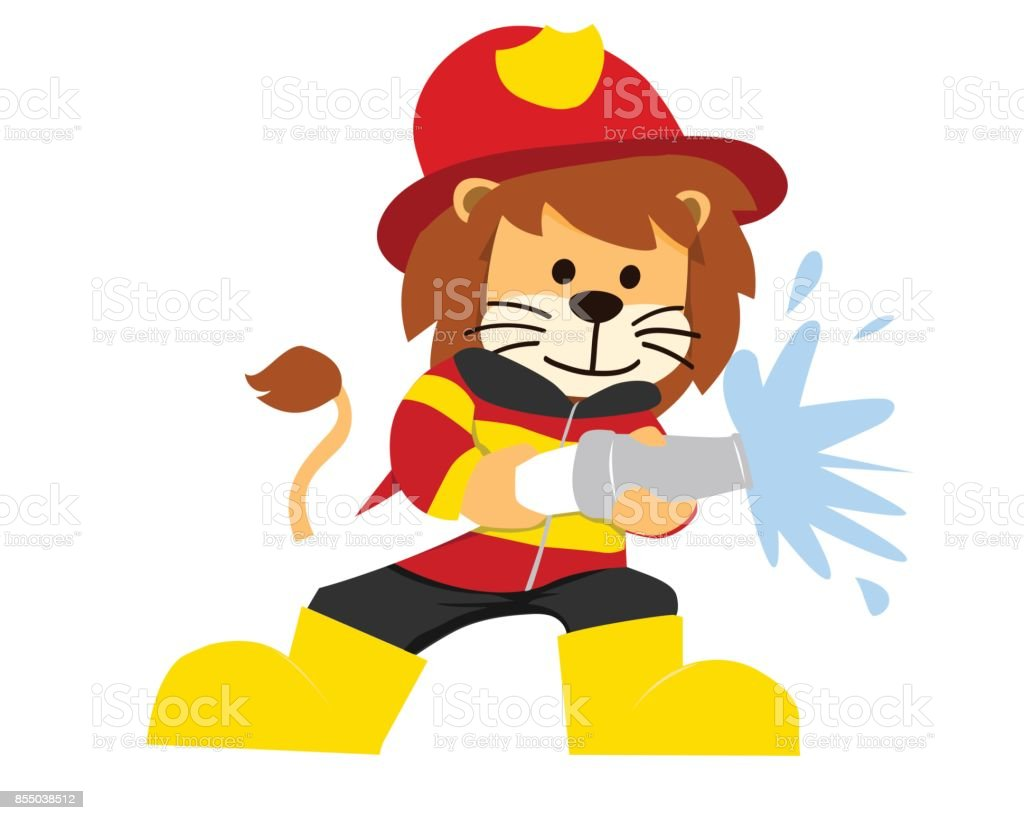 cute isolated lion in firefighter uniform illustration stock vector