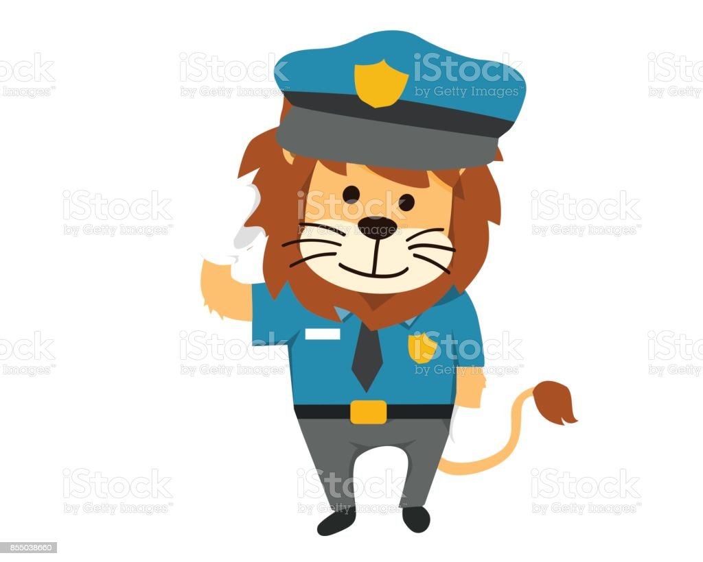 cute isolated lion in police uniform illustration stock vector art