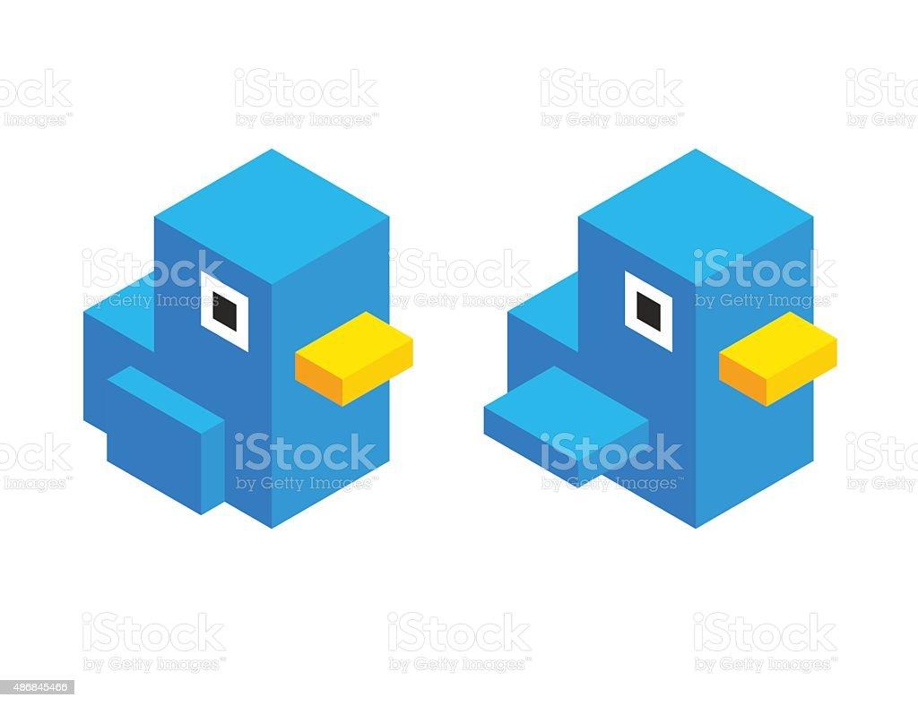 Cute isometric cartoon bird vector art illustration