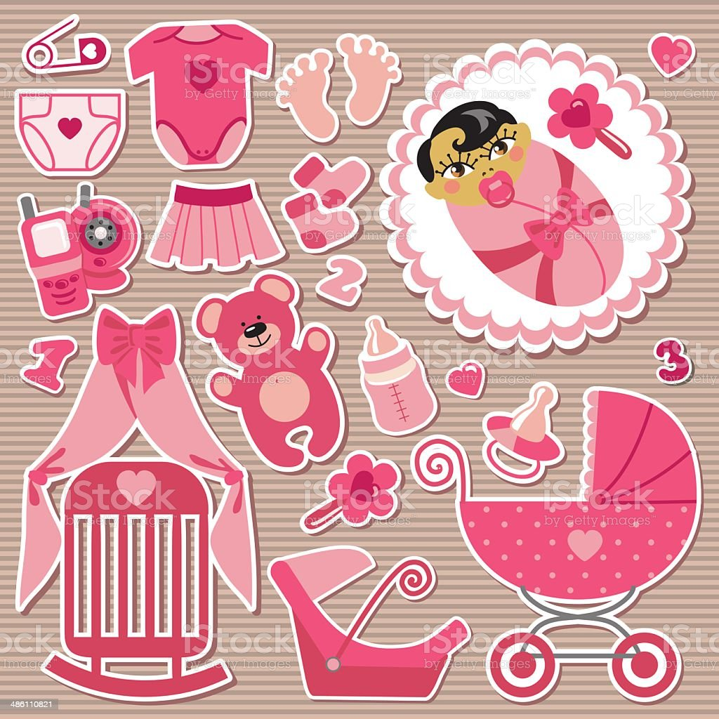 Cute Items For Asian Baby Girlstrips Background Stock Vector Art ...