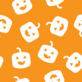 Vector illustration of cute jack o lanterns in a repeating pattern against an orange background.