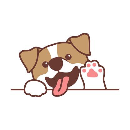 Cute jack russell terrier dog waving paw cartoon, vector illustration