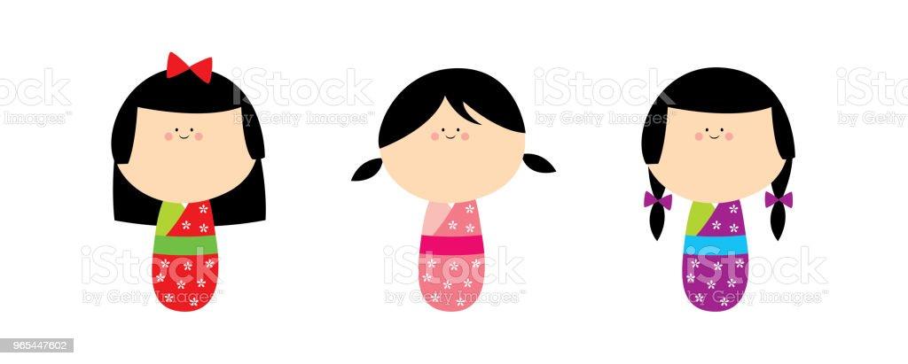 cute japan kokeshi kimono doll vector set cute japan kokeshi kimono doll vector set - stockowe grafiki wektorowe i więcej obrazów baby shower royalty-free