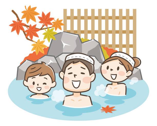 bildbanksillustrationer, clip art samt tecknat material och ikoner med söt japansk familj njuter av avkopplande traditionella varma våren onsen bad på semester - japanese bath woman