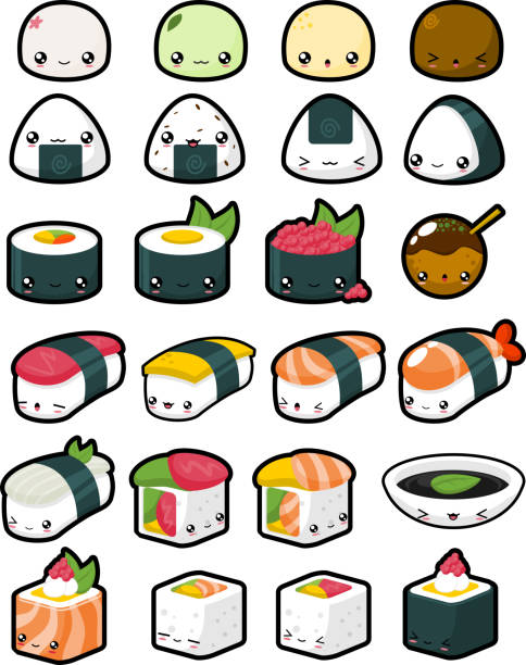cute japanese food - sushi stock illustrations
