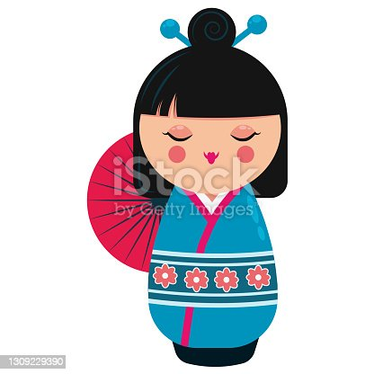 istock Cute japanese kokeshi doll character. Cartoon vector illustration 1309229390