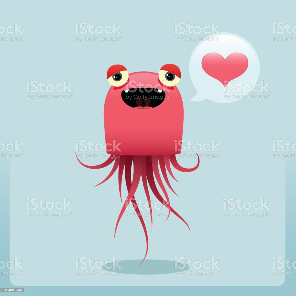 Cute Jellyfish Character is Being Silly With Love royalty-free stock vector art