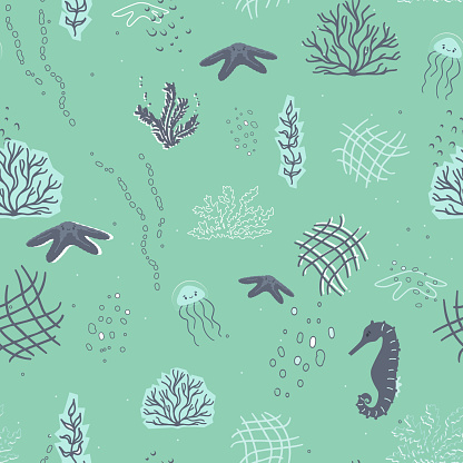 Cute jellyfish, starfish, seahorse, algae, corals, underwater bubbles seamless pattern. Collage, Cut paper effect in green, blue colors