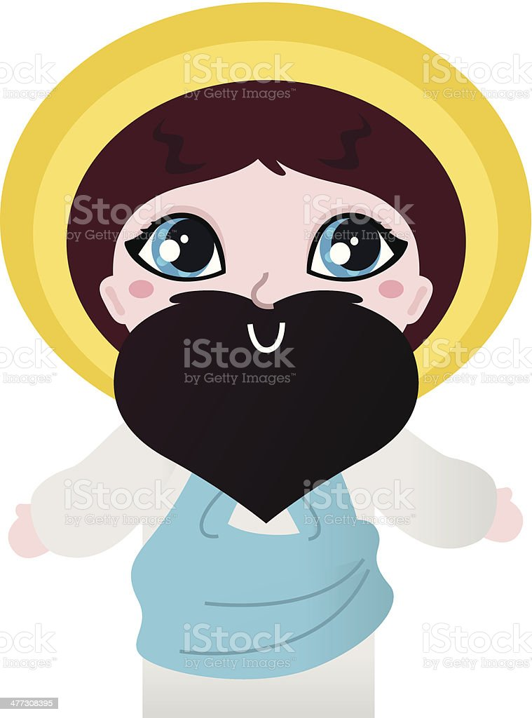 Cute Jesus Christ character isolated on white royalty-free stock vector art