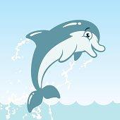 Cute Jumping Dolphin Cartoon Character