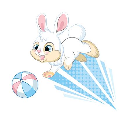 Cute jumping dynamic rabbit cartoon character vector