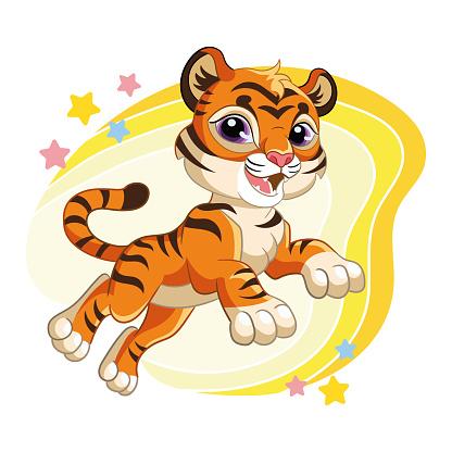 Cute jumping tiger cartoon character vector illustration