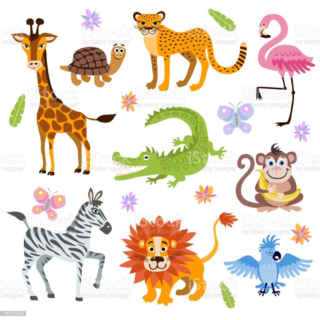 かわいいジャングルとサファリ動物ベクター子供の本のためのセット - お