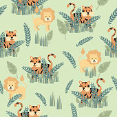Pastel nursery safari animal with tropical plants. Flat color with grouped elements for easier editing.