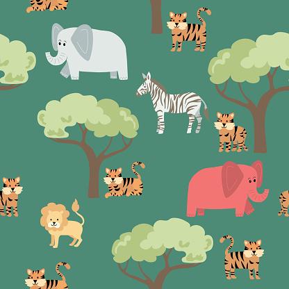 Cute Jungle Animals - Tiger Seamless Pattern