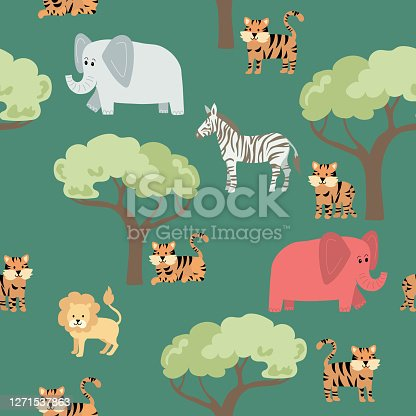 istock Cute Jungle Animals - Tiger Seamless Pattern 1271537863