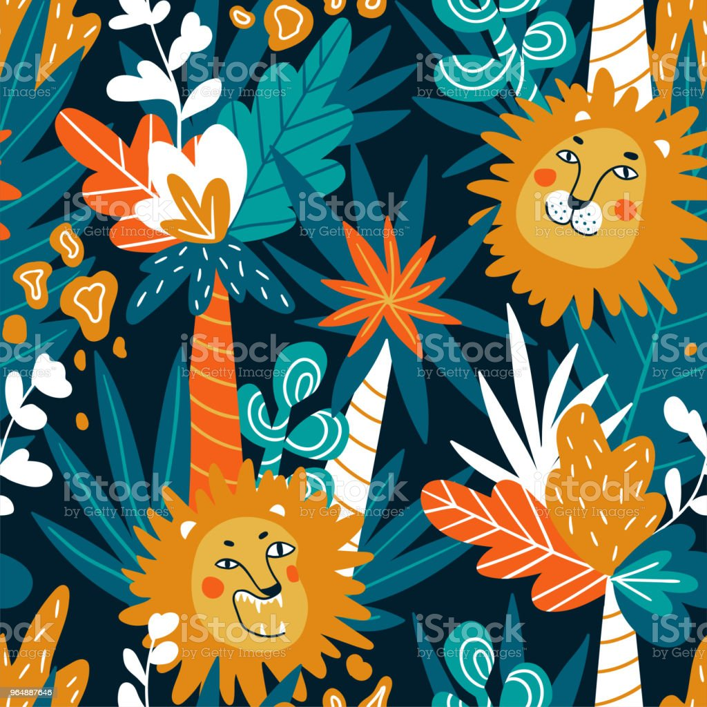 Cute jungle baby endless background. Vector seamless pattern with lions and tropical plants in bright colors. royalty-free cute jungle baby endless background vector seamless pattern with lions and tropical plants in bright colors stock vector art & more images of abstract