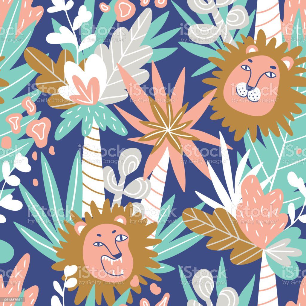 Cute jungle baby endless background. Vector seamless pattern with lions and tropical plants. royalty-free cute jungle baby endless background vector seamless pattern with lions and tropical plants stock illustration - download image now