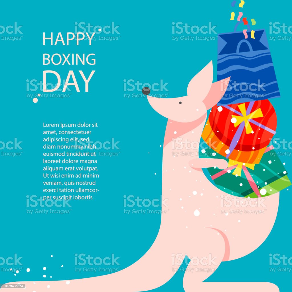 Cute kangaro and gifts in boxes. Happy Boxing Day concept in flat style vector art illustration