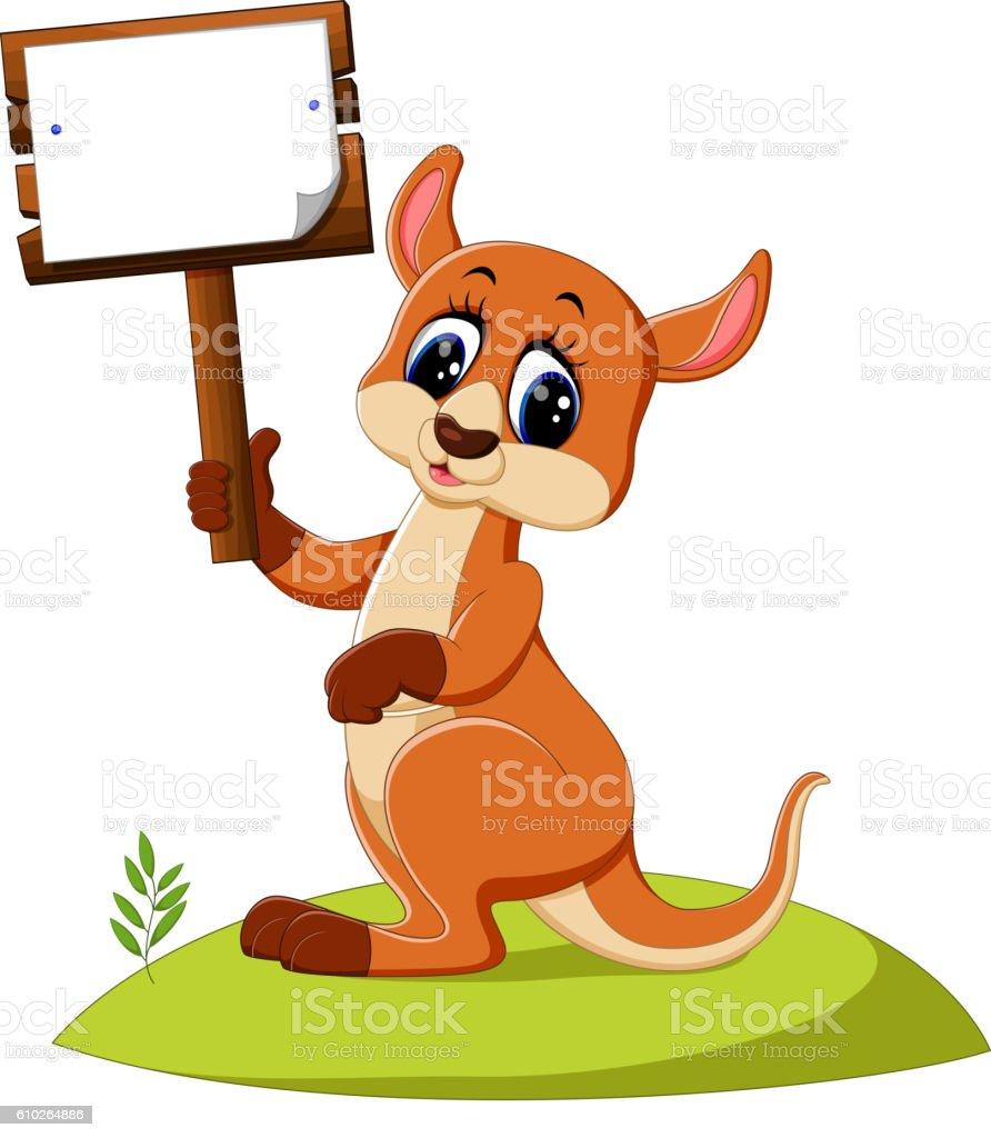 cute Kangaroo cartoon vector art illustration
