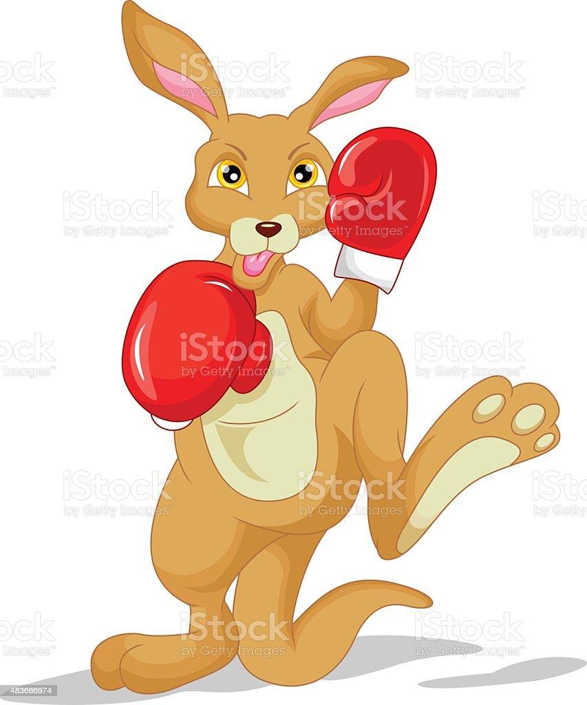 cute kangaroo cartoon wearing boxing glove vector art illustration