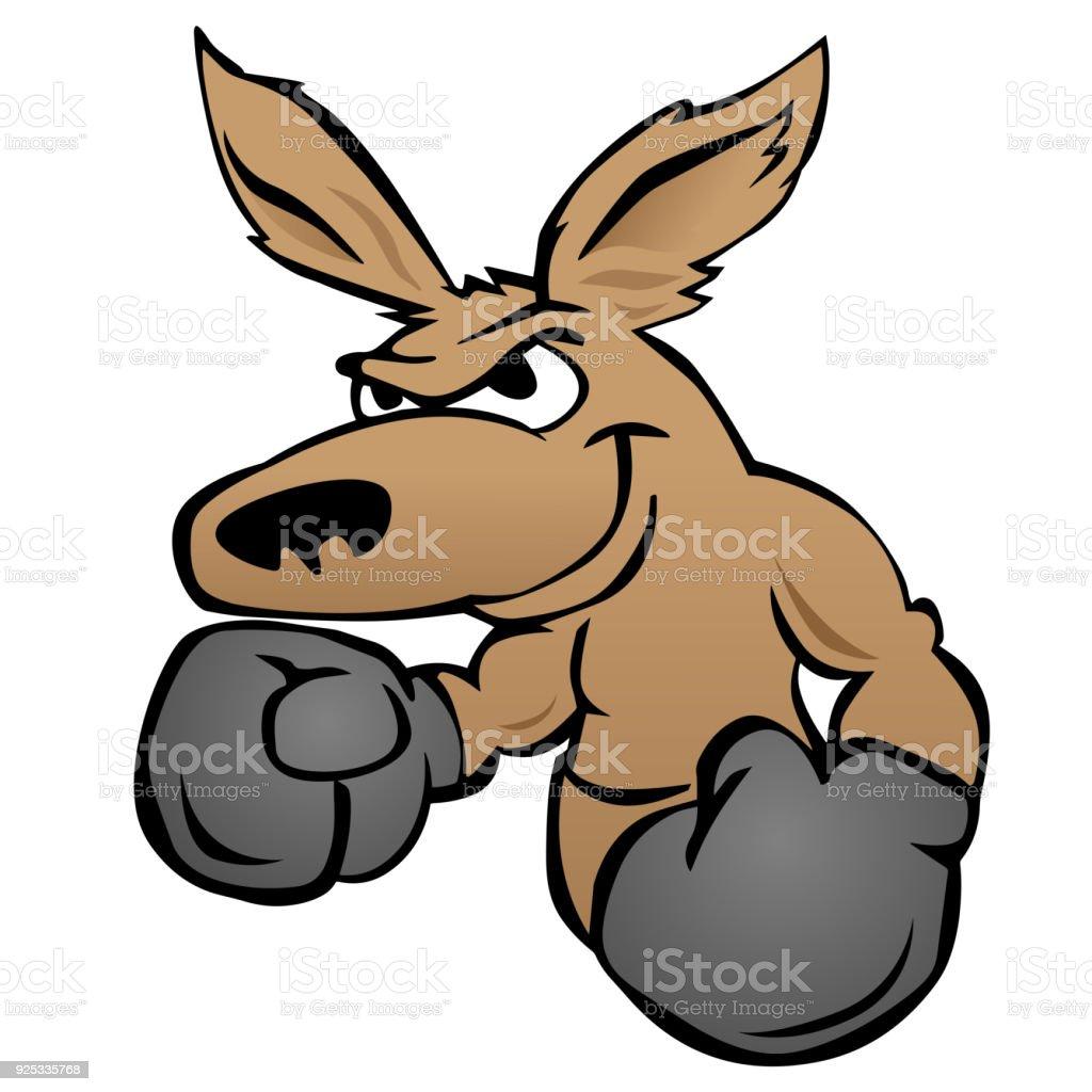 Cute kangaroo with boxing gloves vector illustration vector art illustration