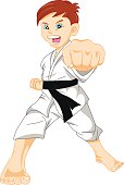 Cute karate boy