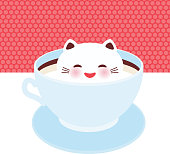 Cute Kawai cat in blue cup of froth art coffee, isolated on white pink polka dot wall background. Latte Art 3D. milk foam top on the cup of hot coffee or chocolate. Vector illustration