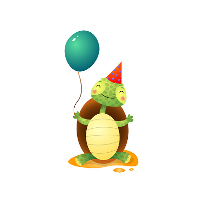 Cute kawai turtle in birthday hat holding balloon in hand isolated on white background