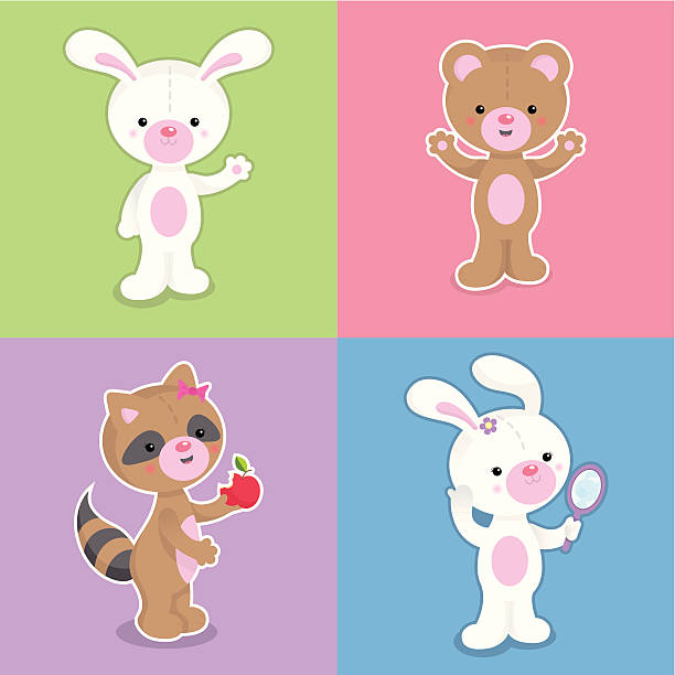 Cute kawaii animals set vector art illustration