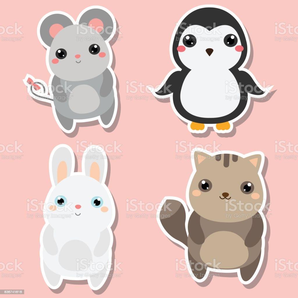 かわいい動物のステッカー セットですベクトルの図マウスペンギン猫