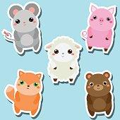 Cute kawaii animals stickers set. Vector illustration. Mouse, pig, sheep, fox, bear