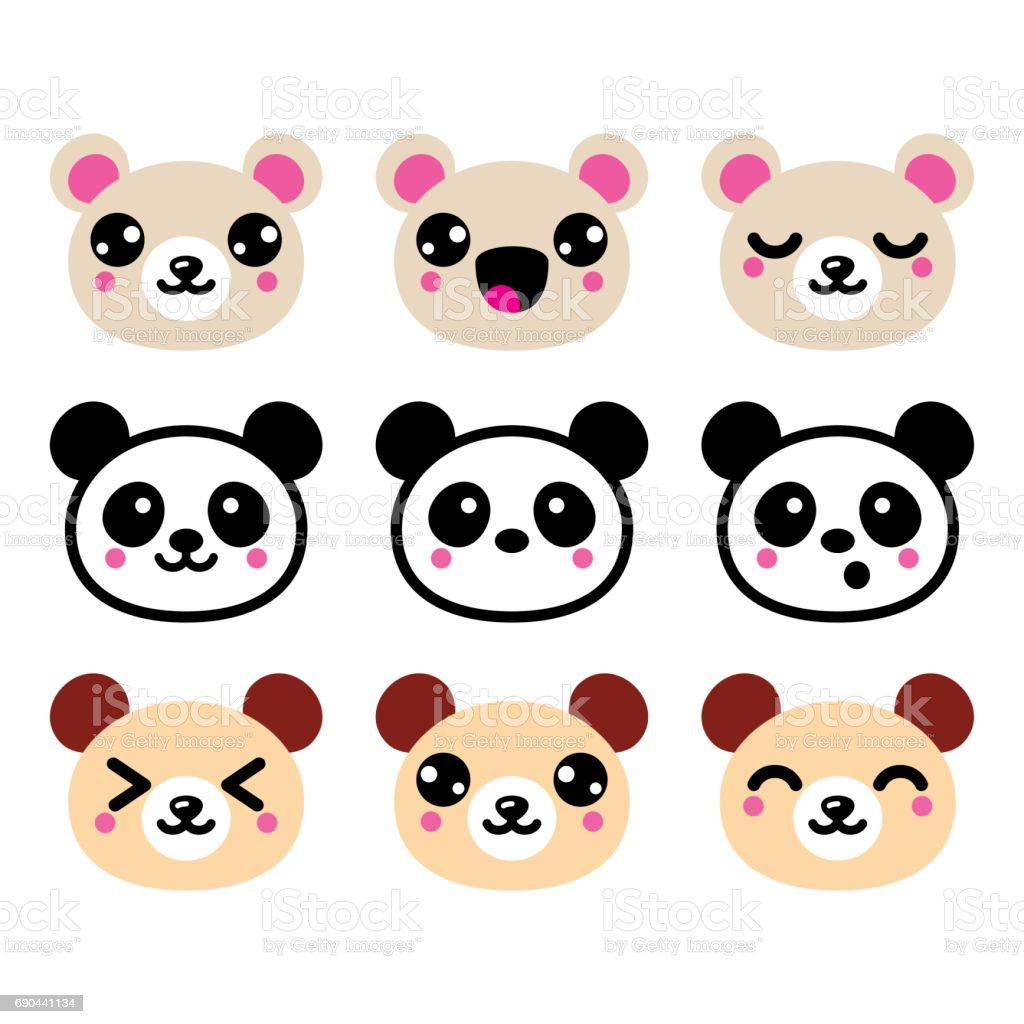 Ilustración De Cute Kawaii Oso Set De Iconos Diseño Del Oso Panda Y