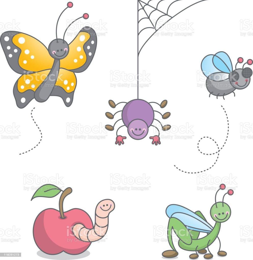 Cute kawaii bugs set vector art illustration