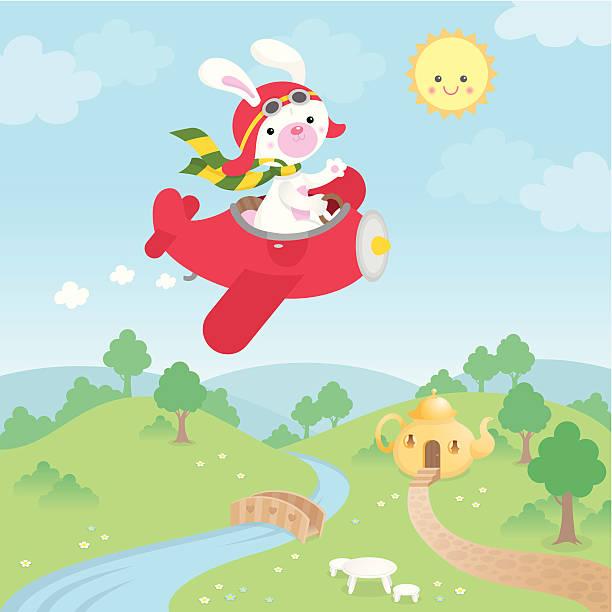 Cute kawaii bunny airplane vector art illustration