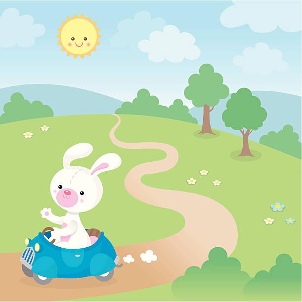 Cute kawaii bunny in fast car vector art illustration